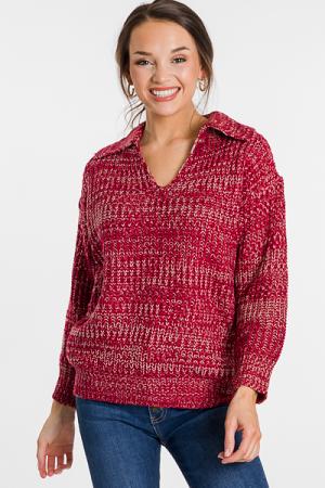 Collared Sweater, Burgundy