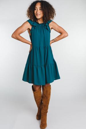 Savvy Tiered Dress, Hunter Green