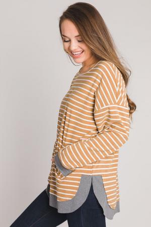 Kangaroo Stripe Pullover, Camel