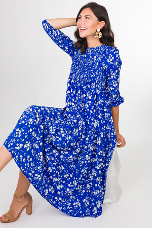 Smocked Top Maxi, Royal Floral