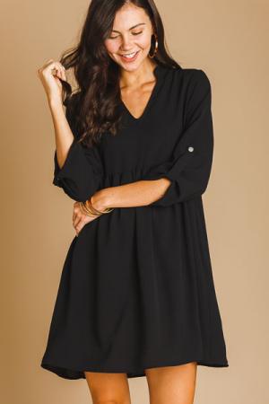 Babydoll Woven Shirt Dress, Black