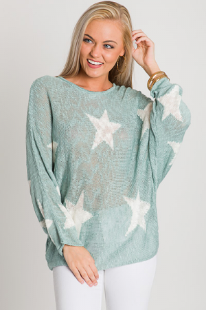 Star Search Sweater, Sage