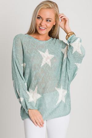 Star Search Sweater, Sage