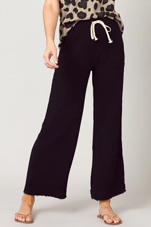 Gauze Fray Leg Pants, Black