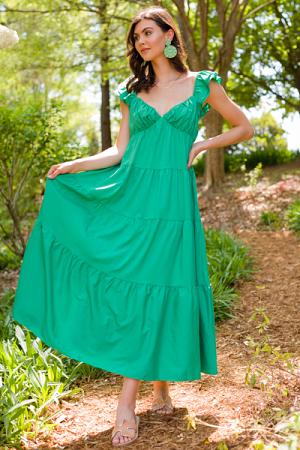 Morgan Ruffle Sleeve Maxi, Green