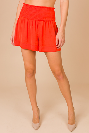 Silky Smocked Shorts, Coral