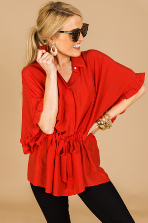 Drawstring Button Down, Red