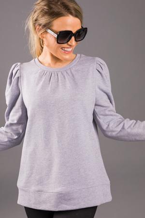 Puff Sleeve Sweatshirt, Grey