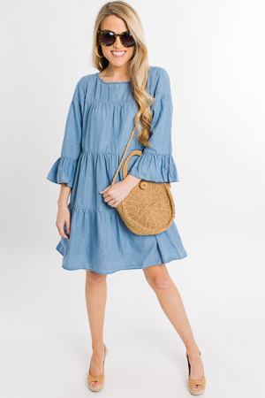 Tiered Chambray Dress