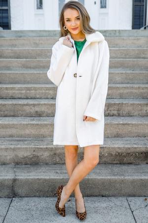 Fur Collar Coat, Cream