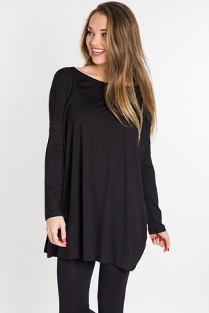 Piko Tunic Dress, Black
