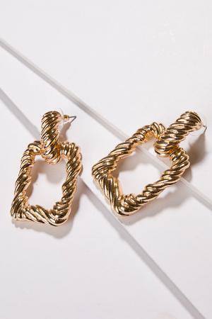 Bachelorette Rectangle Earring, Gold