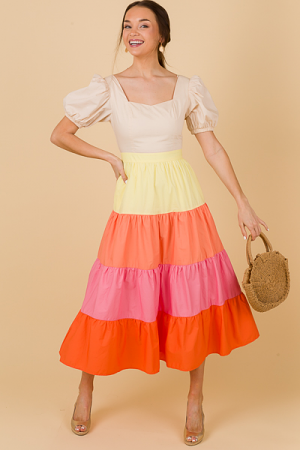 Sunset Shades Colorblock Midi