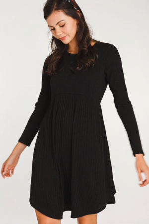 Ribbed Sweater Dress, Black