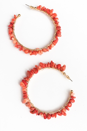 Stone Chip Wrapped Hoops, Coral