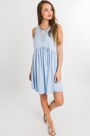 Basic Bliss Babydoll Dress, Blue