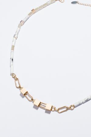 Segments Necklace, White
