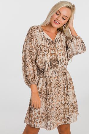 Lurex Snake Dress, Brown