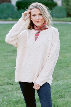 Raised Dots Cream Sweater