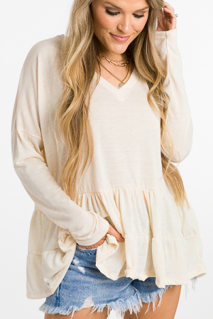 Mailee Tiered Top, Oatmeal