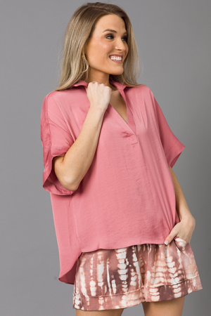 Collared Satin Blouse, Rose