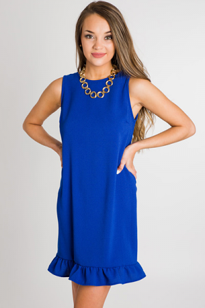 Ruffle Hem Tank Dress, Royal