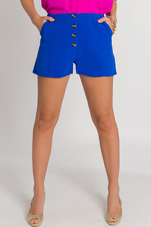 Bold Button Shorts, Royal Blue