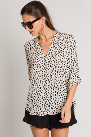 Cream Leopard Blouse