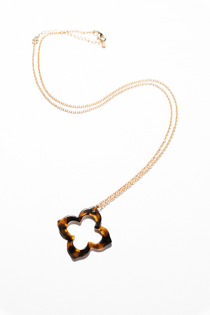 Tortoise Clover Necklace, Brown