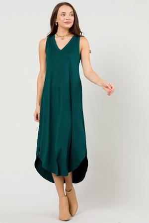 V-Neck Soft Knit Maxi, H. Green