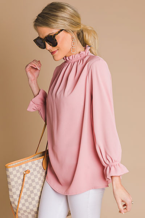 Above It All Ruffle Blouse, Pink