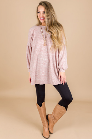 Bubble Sleeve Knit Tunic, Mauve