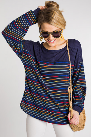 Rainbow Ribbed Top, Navy