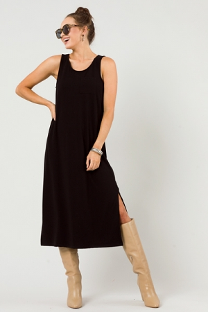 Rib Tank Maxi Dress, Black