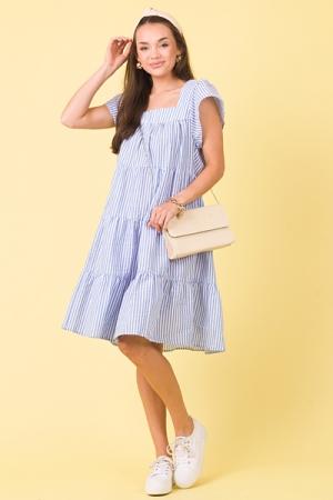 Seersucker Stripe Dress, Blue