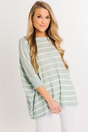 Summer Nights Stripe Sweater, Sage