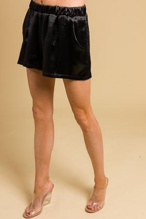 Pull on Shorts, Satin Black