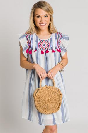 Fuchsia Tassel Stripe Dress