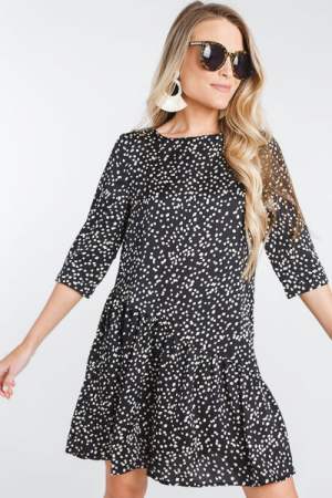 Slant Seam Spotted Dress