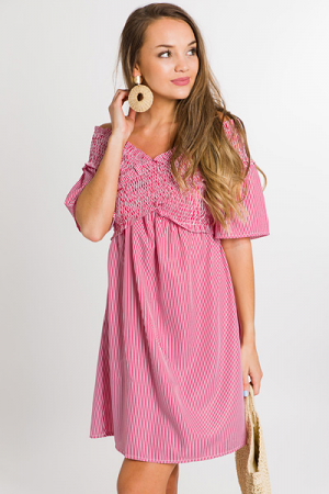 Smock Top Dress, Red