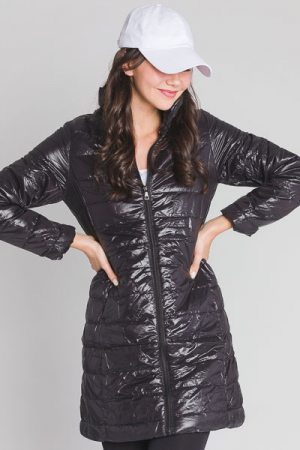 Long Quilted Jacket, Black