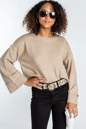 Latte Cropped Sweater