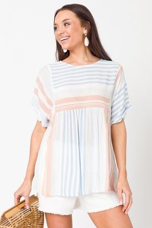 Oversize Stripe Babydoll, Blue