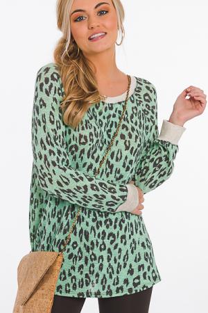 Leopard Hacci Pullover, Mint