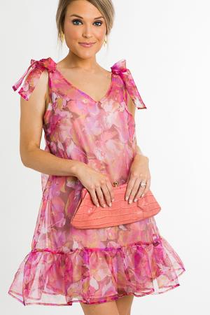 Floral Organza Dress, Pink