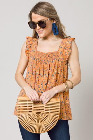 Square Floral Top, Orange