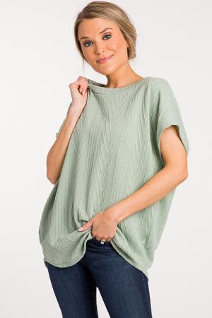 Textured Lanes Sweater, Sage