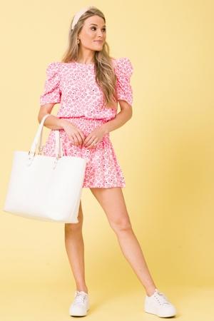 Smock Floral Shorts, Pink