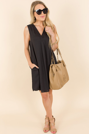 Pleat Front Pockets Dress