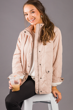 Warm Inside Quilted Jacket, Taupe